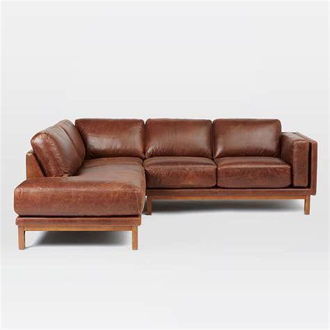 dekalb couch dekalb leather 3 piece chaise sectional west elm
