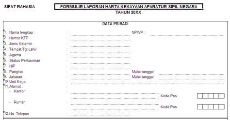 contoh formulir laporan harta kekayaan aparatur sipil
