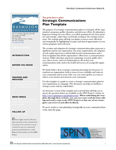 communication strategy template strategic communication plan template images