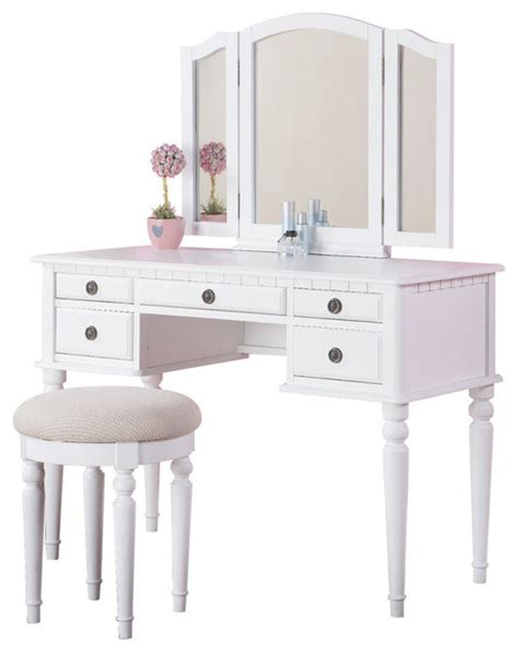 White Makeup Vanity Table Tri Folding Mirror Make Up Table Vanity Set Wood W Stool 5 Drawers White Contemporary