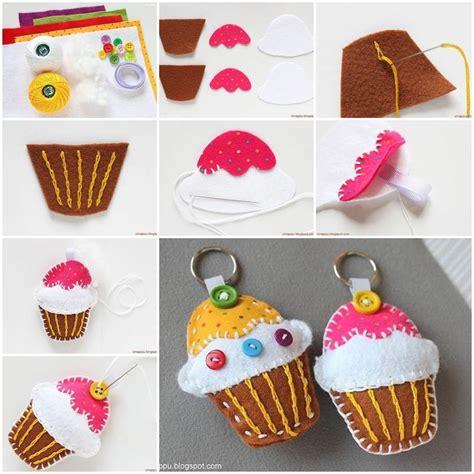 diy felt crafts diy felt cupcake key chain