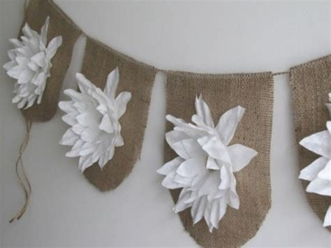Paket Paper Flower Bunting Flag Paper Flowers On Burlap Easy And In Expensive But So