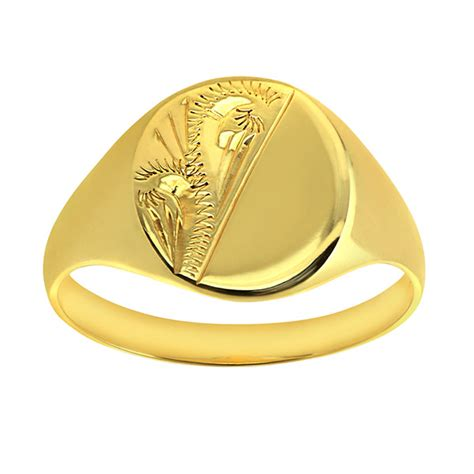 engraved oval signet ring 9ct yellow gold