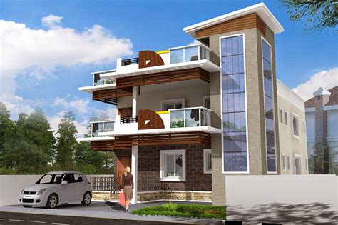 residential building elevation luckydesigners 3d elevation residential building