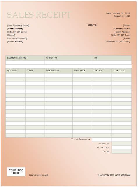 sales receipt free sales receipt sle templates