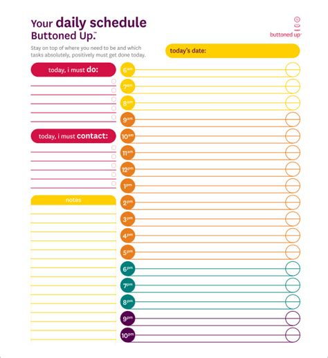 daily schedule template 34 free word excel pdf
