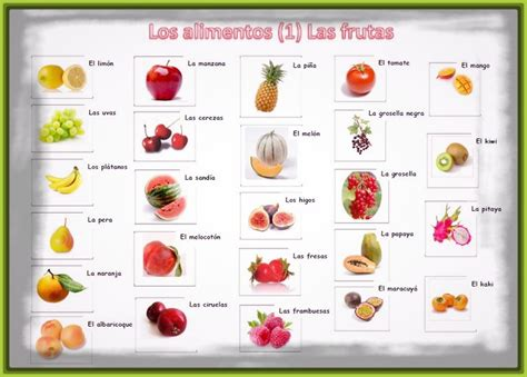 imagenes en ingles frutas frutas y verduras con su nombre en ingles archivos