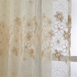Embroidered Sheer Curtains Curtains Sheer Curtains One Panel Country Embroidered Yellow Floral Pattern Polyester