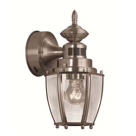 outdoor light sensor fixtures shop portfolio 11 75 in h brushed nickel motion activated