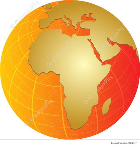 africa map globe illustration of map of africa on globe