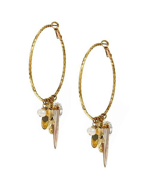 sam ubhi mixed charms hoop earrings in metallic lyst