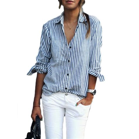 Button Collar Striped Shirt stripe button stand collar sleeve blouses