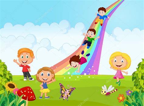 imagenes de escolares jugando dibujos animados ni 241 os poco juego arco iris de la