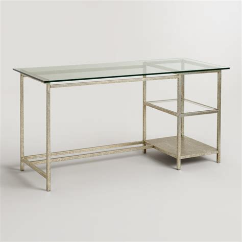 Glass Top And Burnished Gold Colton Mix Match Desk Desk Glass Top