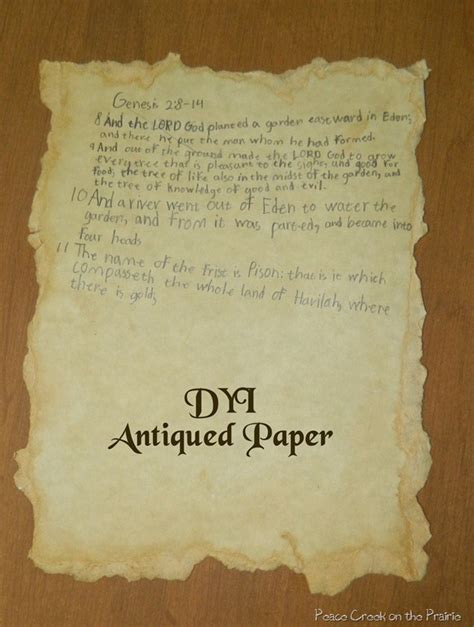 Make Antique Paper - dyi antiqued paper peacecreekontheprairie