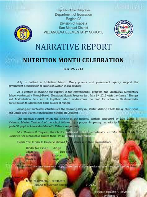 theme for education month 2013 narrative report on nutrition month