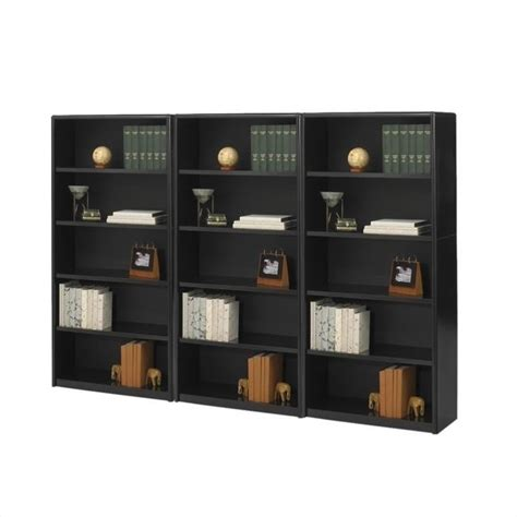 5 shelf wall economy steel bookcase in black 7173bl pkg