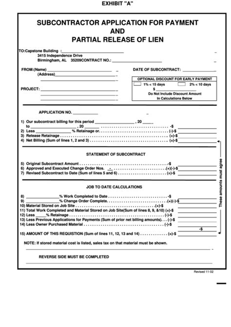 Subcontractor Application For Payment Printable Pdf Download Subcontractor Application Template