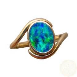 Opel Rings Opal Ring 14k Gold Oval Blue Green Gem Flashopal