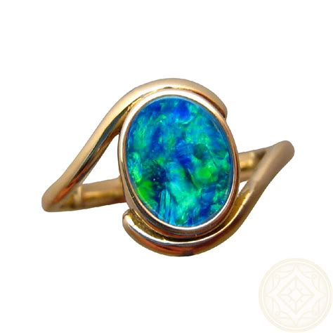 blue opal opal ring 14k gold oval blue green gem flashopal