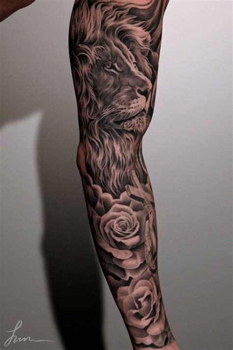 lion flower tattoo 95 awesome exles of sleeve ideas tattoos