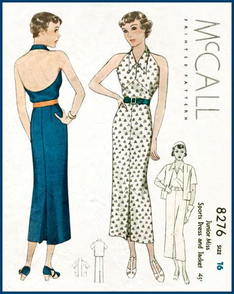 clothes pattern in english 30s 1930s repro vintage women s sewing pattern halter neck