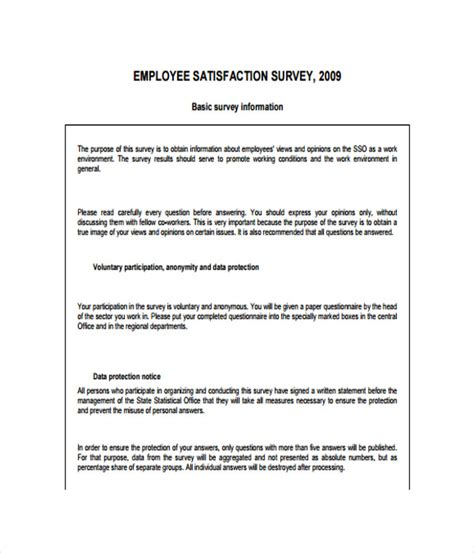 staff surveys template survey templates 17 word pdf documents