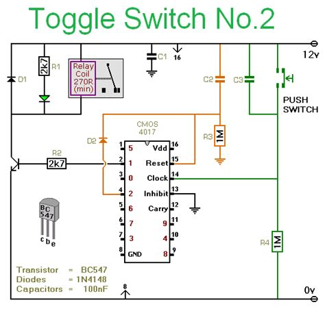 Ic Power Cmos Hcf4069ube gt circuits gt how to use a cmos 4017 as a toggle switch