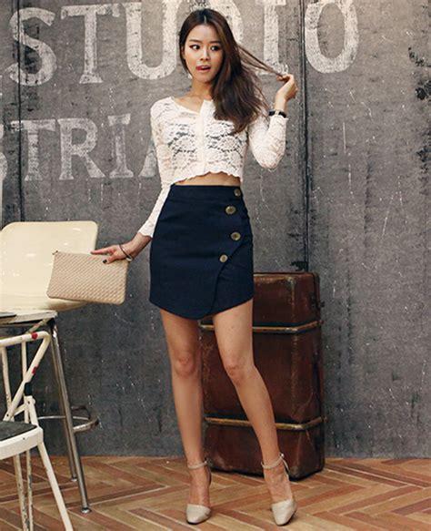 Button Side Asymmetrical Skirt dabagirl asymmetrical hem button skirt kstylick
