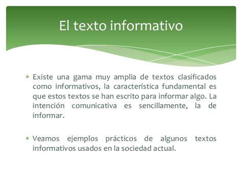 ejemplo de texto informativo el texto informativo ejemplos