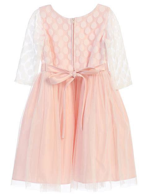 Polkadot Mesh Dress Et Cetera blush polka dot mesh w satin dress