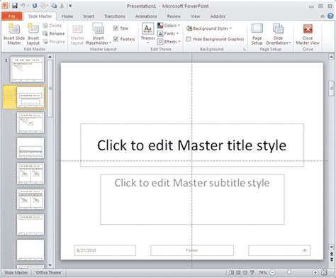 Working With Slide Numbers In Powerpoint 2010 For Windows Powerpoint 2010 Edit Master Slide