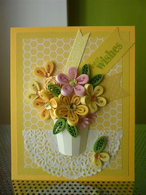 Greeting Cards Handmade Paper - handmade yellow greeting paper quilling card best