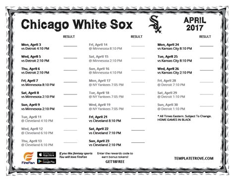 printable 2017 chicago white sox schedule