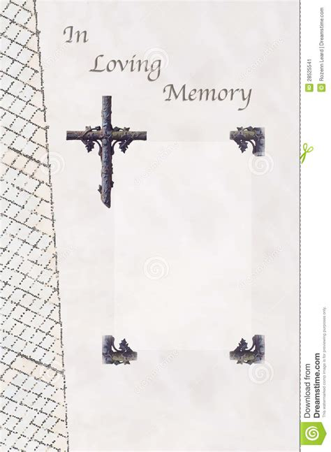 memory cross template funeral guest book stock image image 28525541