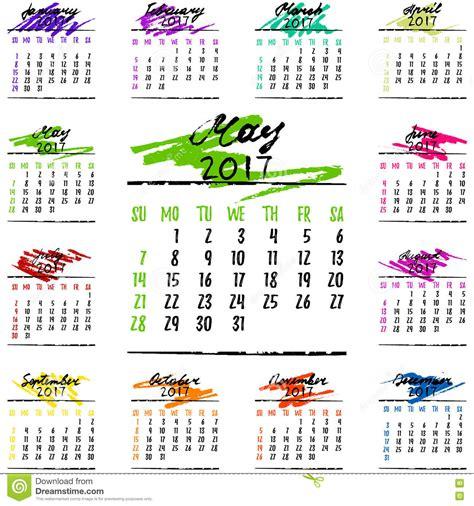 Calendario 2017 Meses Rejilla Calendario Por 2017 A 241 Os Por Meses Ilustraci 243 N