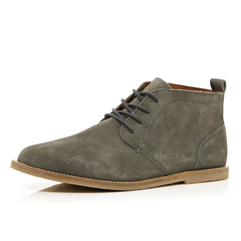 mens grey chukka boots river island grey nubuck chukka boots in gray for