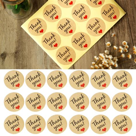 printable kraft stickers lots 60pc round letter print adhesive kraft sticker label