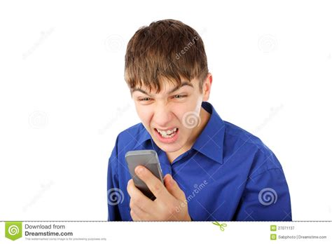 angry on a angry with phone stock image image of hold