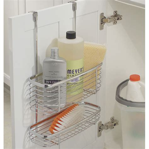 the cabinet door organizer axis chrome cabinet storage basket and tray in