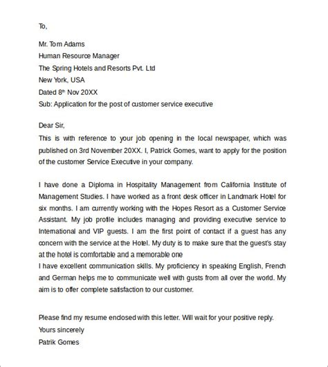 cover letter for customer service professional customer service cover letters 8 free