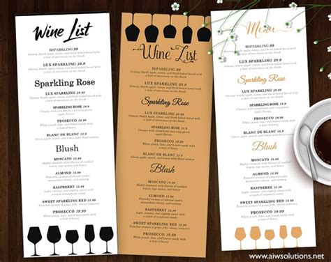 design online menu wine list wine menu flyer templates creative market
