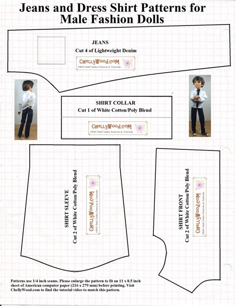 shirt pattern doll male fashiondoll jeans and shirt sewingpattern is 1 on