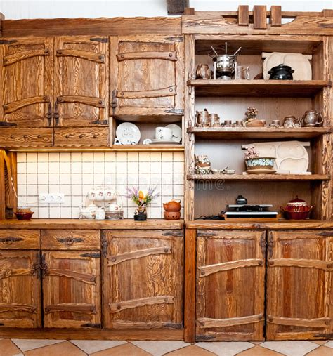 kitchen wooden furniture furniture for kitchen in country style stock photo image