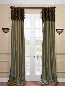 Teal and brown window curtains ruched thai curtain