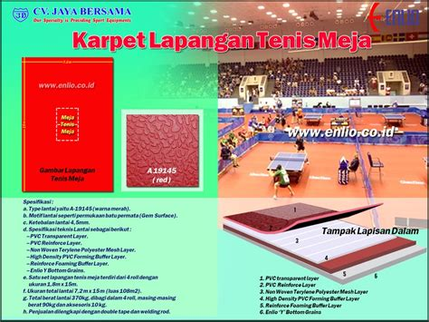 Karpet Bulu Tangkis karpet lapangan tenis meja table tennis flooring enlio indonesia