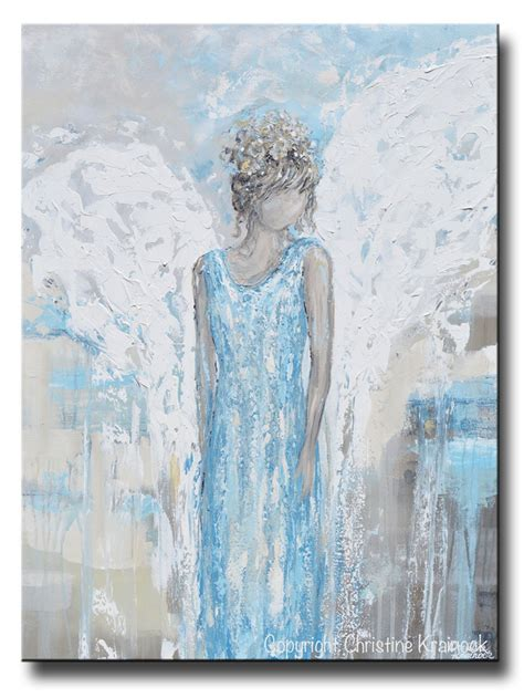original art wall decor home decor modern art european art original abstract angel painting guardian angel wings blue