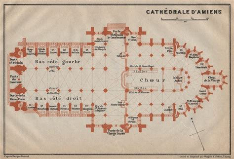 amiens cathedral floor plan amiens cath drale cathedral floor plan somme carte baedeker 1909 old map