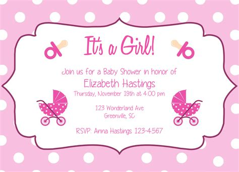 girl baby shower party invitation template it s a