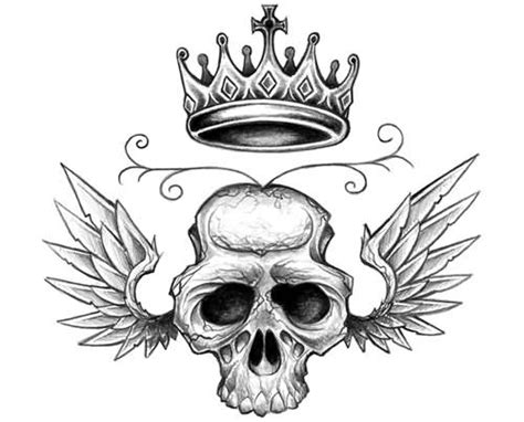 skull with wings tattoo designs wings skull crown design